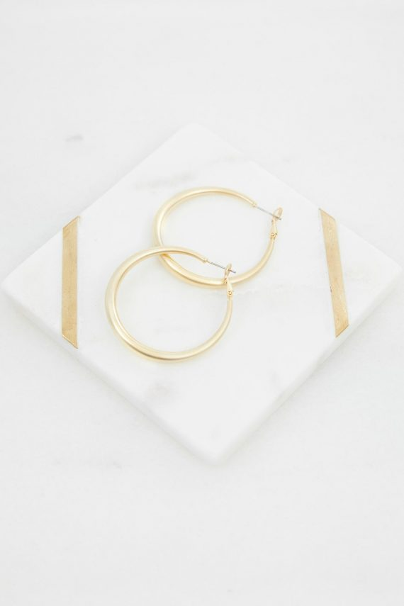 Matte Gold Hoop Ladies Jewelery Colour is Gold