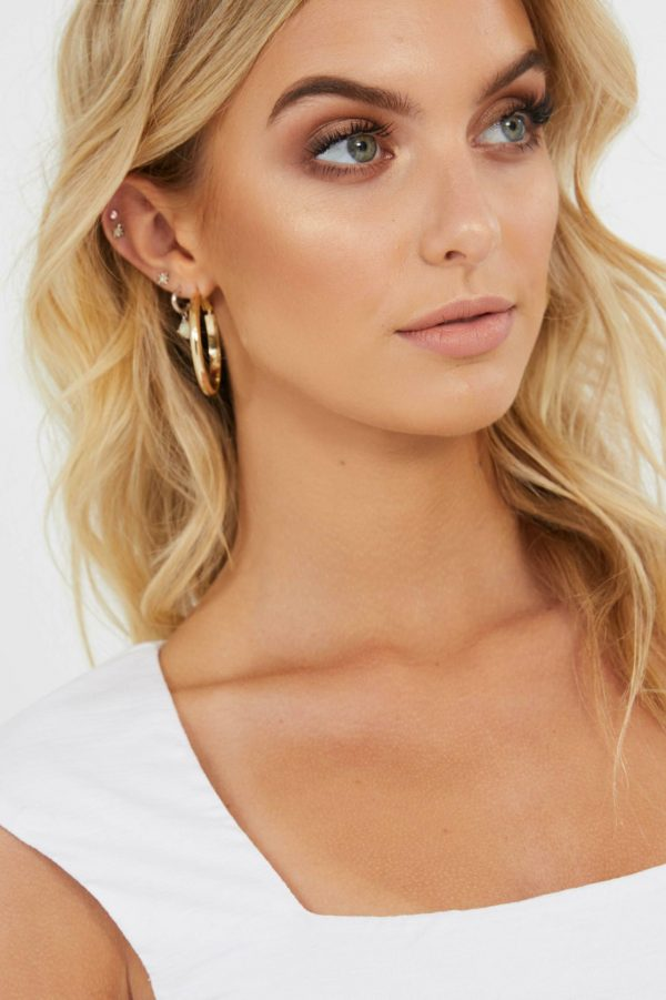 Low Shine Hoop Ladies Jewelery Colour is Gold
