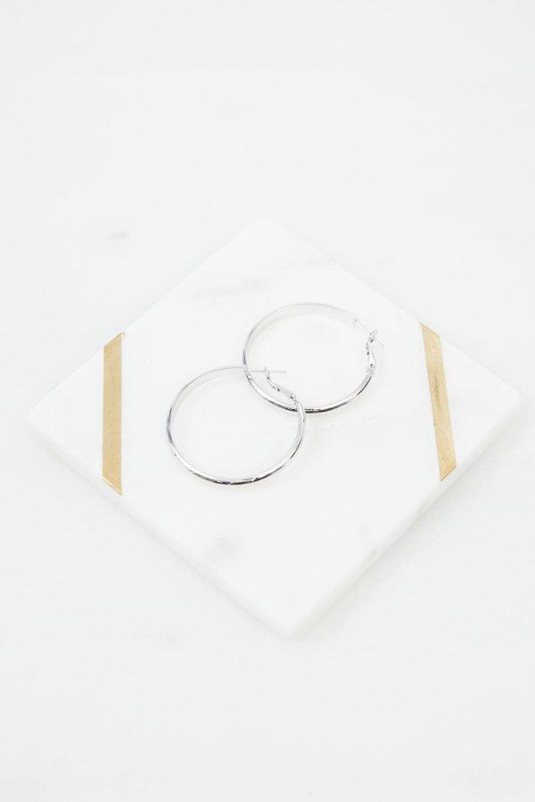 Low Shine Hoop Ladies Jewelery Colour is Silver