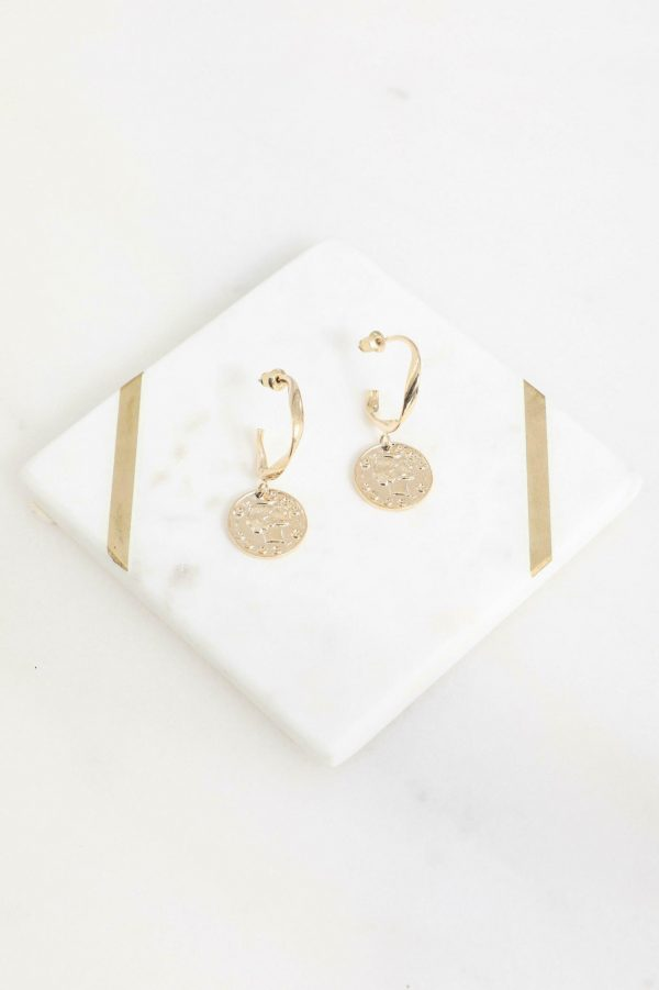 Coin Earring Ladies Jewelery Colour is Gold