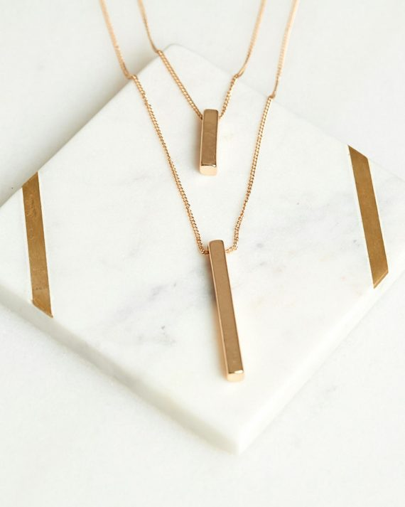 Double Bar Necklace Ladies Jewelery Colour is Gold