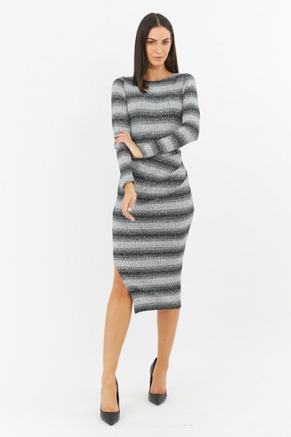 Quest Dress Ladies Dress Colour is Black/white Stripe