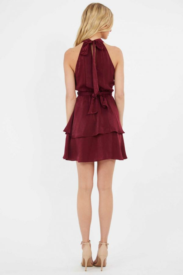 Grenadine Dress Ladies Dress Colour is Burgandy