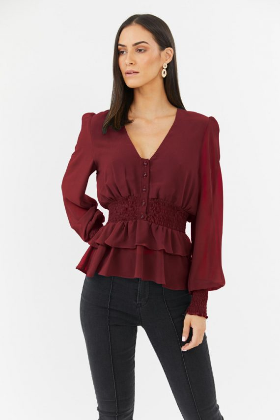 Young Heart Top Ladies Top Colour is Burgandy
