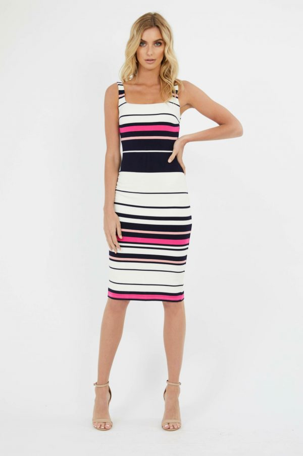 Passage Dress Ladies Dress Colour is Navy/pink Stripe