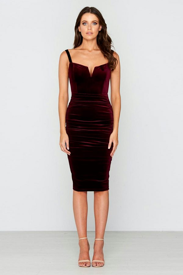 Nightfall Dress Ladies Dress Colour is Wine