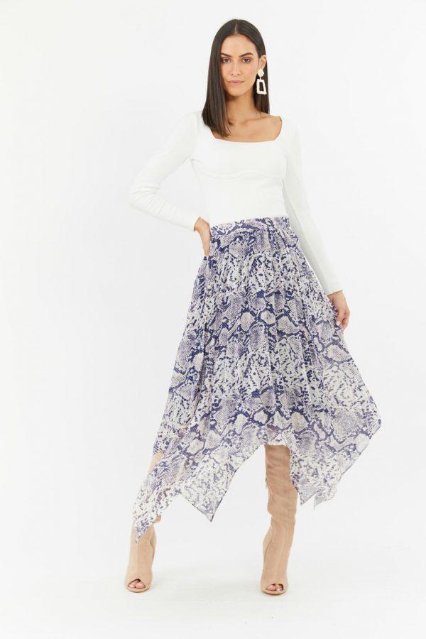 Viper Skirt Ladies Skirt Colour is Navy Snake Print