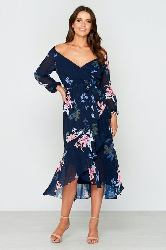 Night Garden Ruffle Dress Ladies Dress Colour is Navy Floral Print