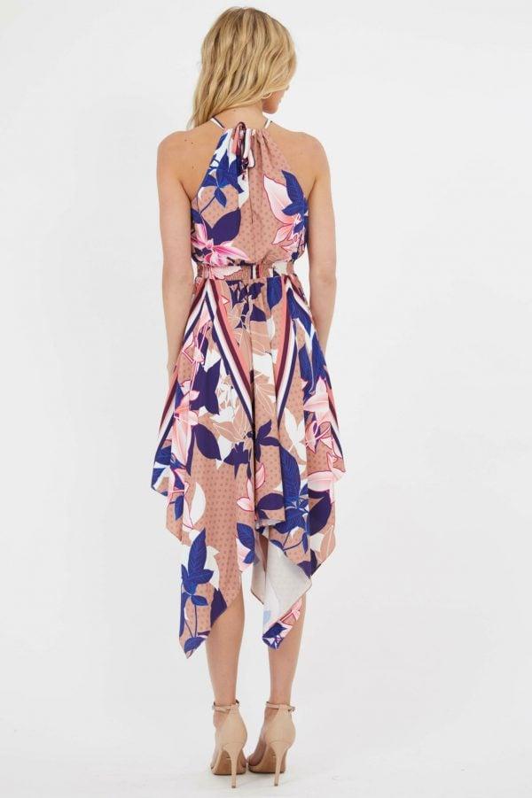 Terrazzo Dress Ladies Dress Colour is Cobalt Scarf Print