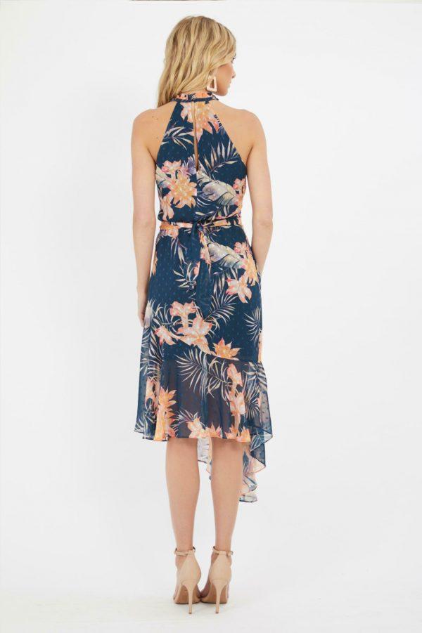 Calypso Ruffle Dress Ladies Dress Colour is Mango Palm Print