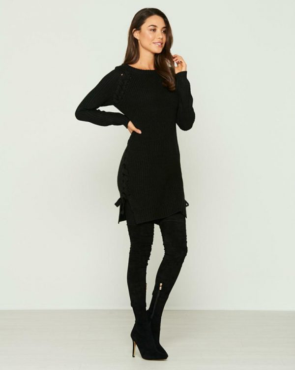 Wolf Pack Knit Top Ladies Knitwear Colour is Black