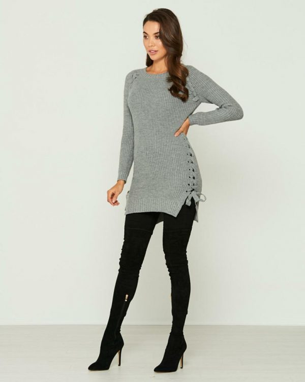 Wolf Pack Knit Top Ladies Knitwear Colour is Grey Marle