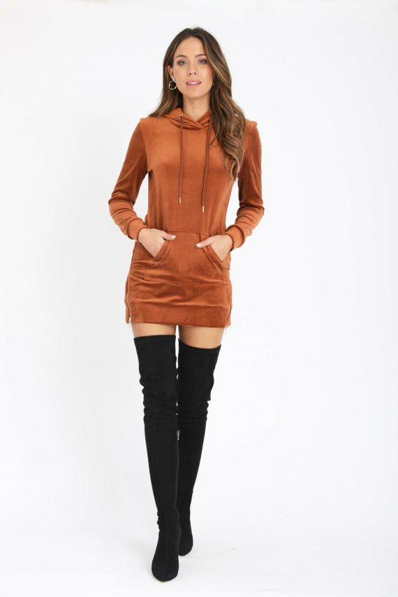 Lush Hoodie Dress Ladies Dress Colour is Copper