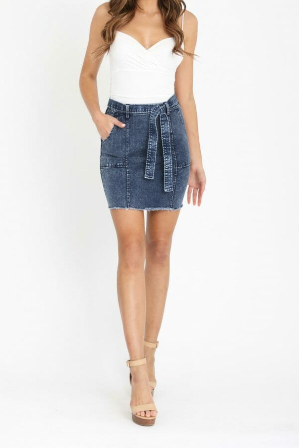 Farrera Skirt Ladies Skirt Colour is Dark Acid Wash