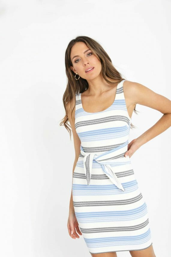 Corsica Dress Ladies Dress Colour is Blue Multi Stripe