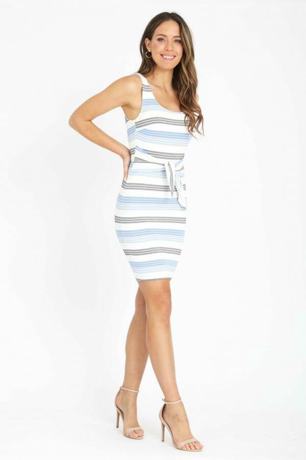 Corsica Dress Ladies Dress Colour is Blue Multi Stripe