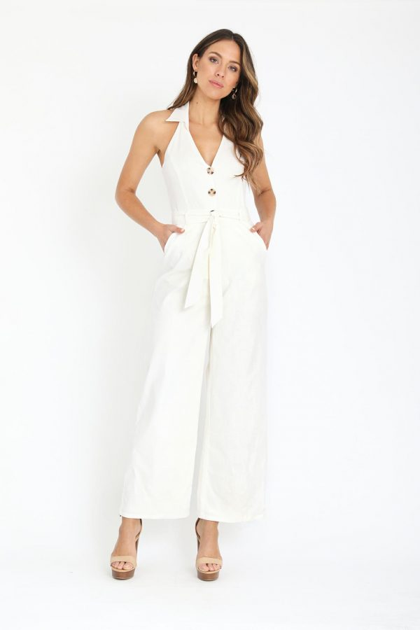 Otranto Jumpsuit Ladies Jumpsuit Colour is White