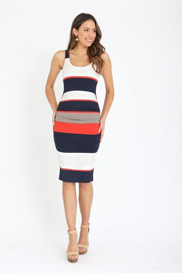 Patara Dress Ladies Dress Colour is Navy/orange Stripe
