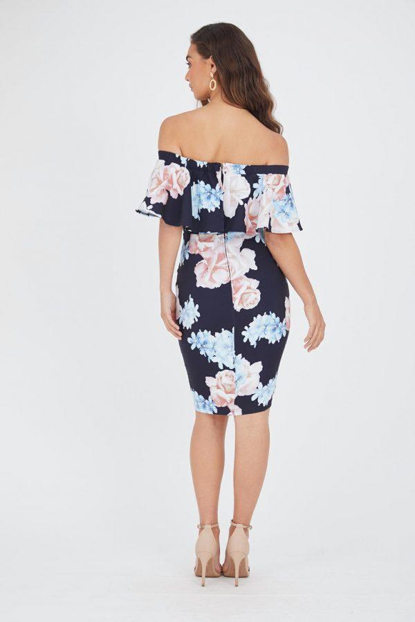Summer Rose Ruffle Dress Ladies Dress Colour is Summer Rose Print