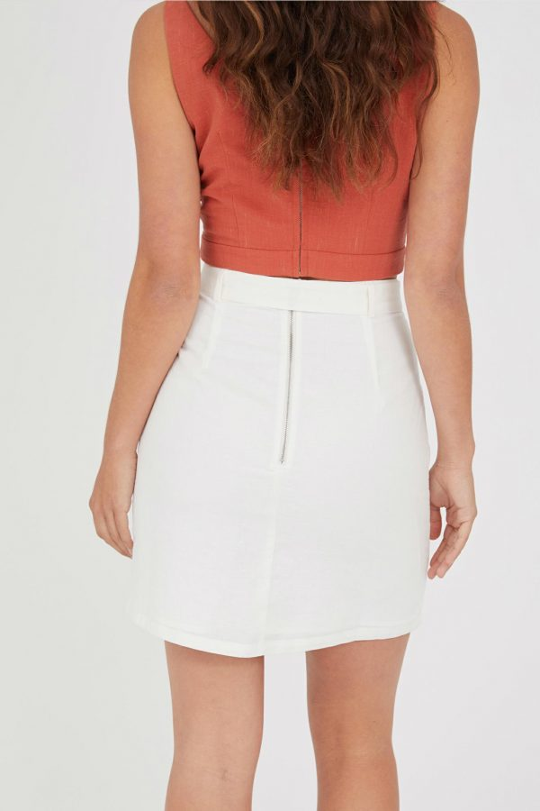 Cavallo Linen Skirt Ladies Skirt Colour is White