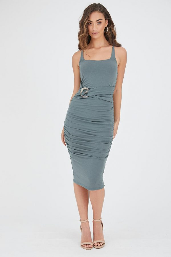 Venado Dress Ladies Dress Colour is Dark Sage