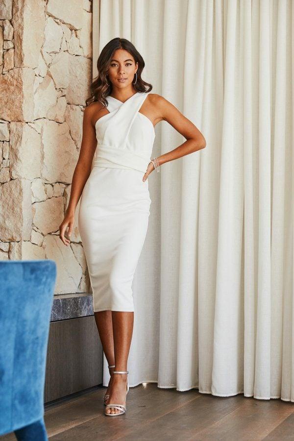 Bombshell Dress Ladies Dress Colour is White