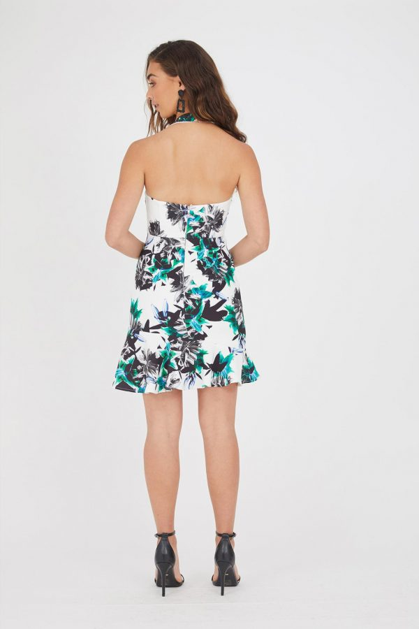 Barbados Ruffle Dress Ladies Dress Colour is White Hibiscus Print
