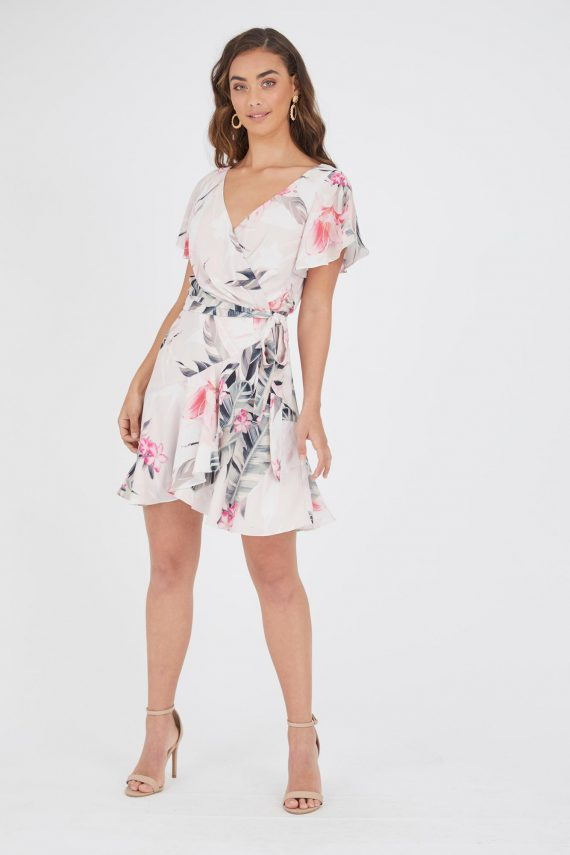 Blushing Lilly Wrap Dress Ladies Dress Colour is Blushing Lilly Print
