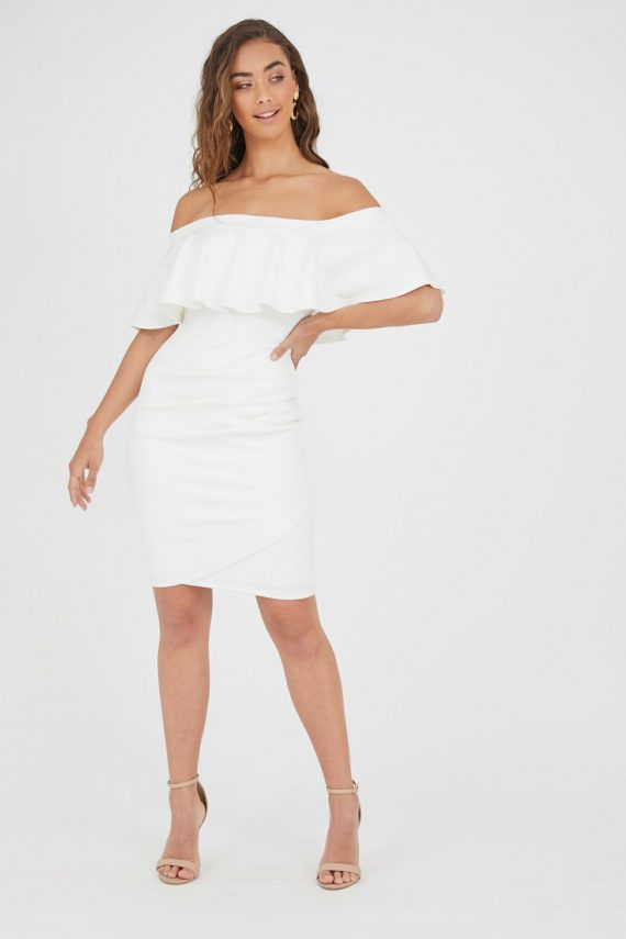 Acapulco Ruffle Dress Ladies Dress Colour is White