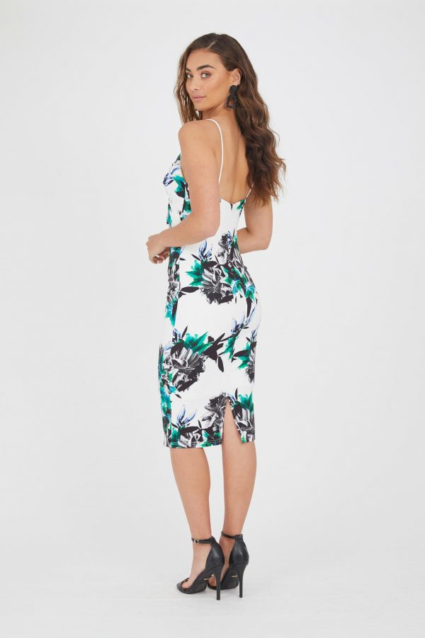 Barbados Dress Ladies Dress Colour is White Hibiscus Print