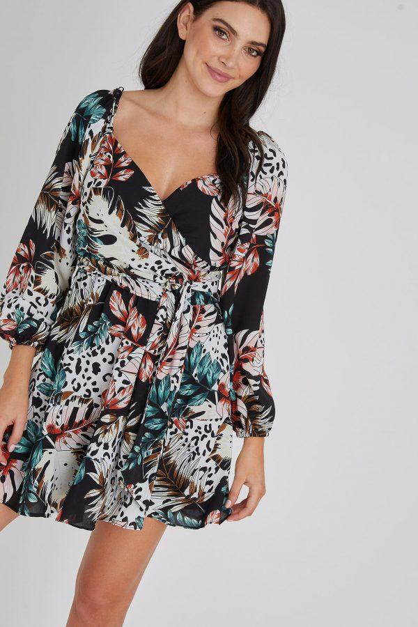 Castaway Dress Ladies Dress Colour is Black Tropical Print