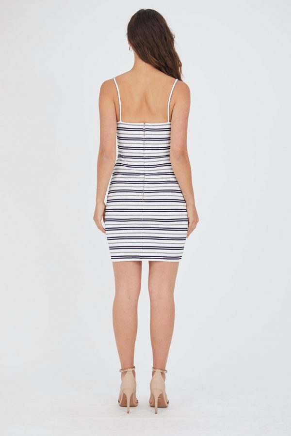 Listra Dress Ladies Dress Colour is White/nvy Stripe