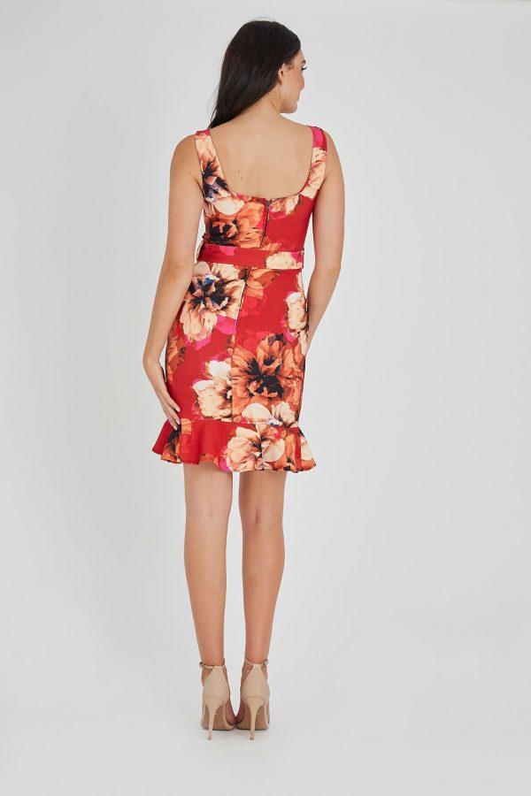 Vermillion Dress Ladies Dress Colour is Vermillion Floral