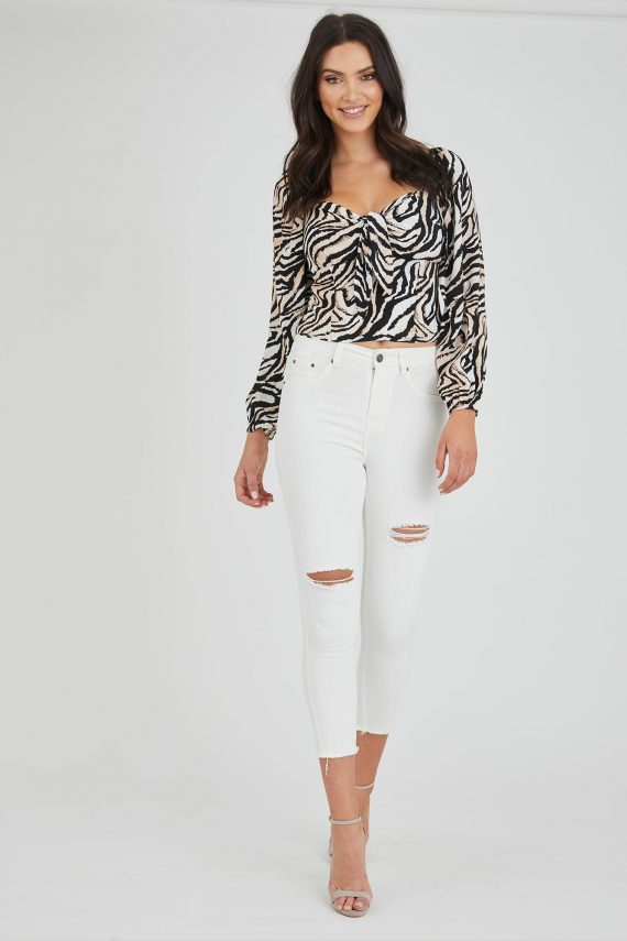Emarosa Top Ladies Top Colour is Beige Zebra Print