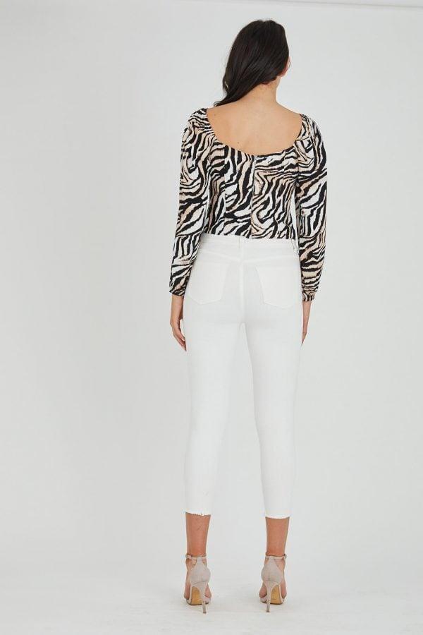 Emarosa Top Ladies Top Colour is Beige Zebra Print