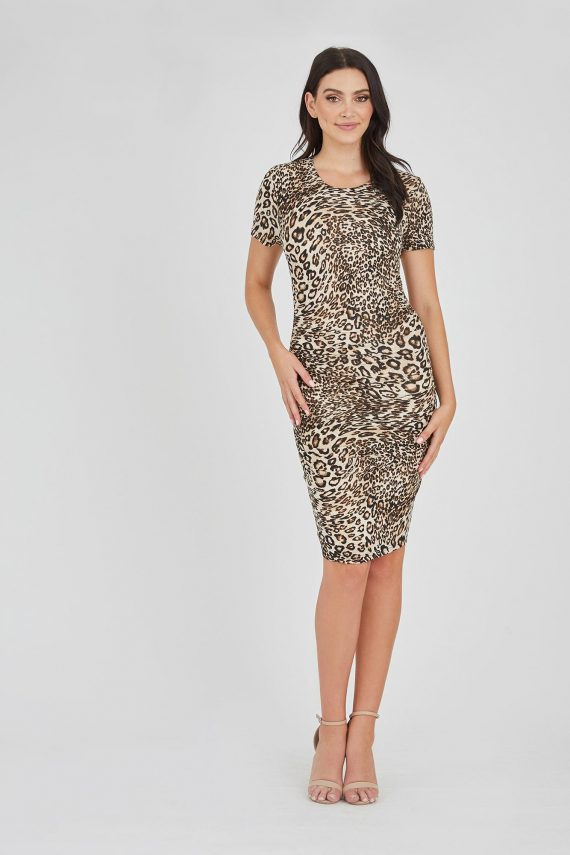 Cards Dress Ladies Dress Colour is Brown Leopard Print