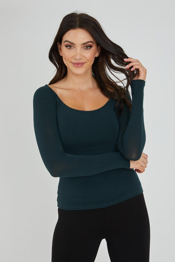 Showboat Top Ladies Top Colour is Forest Green