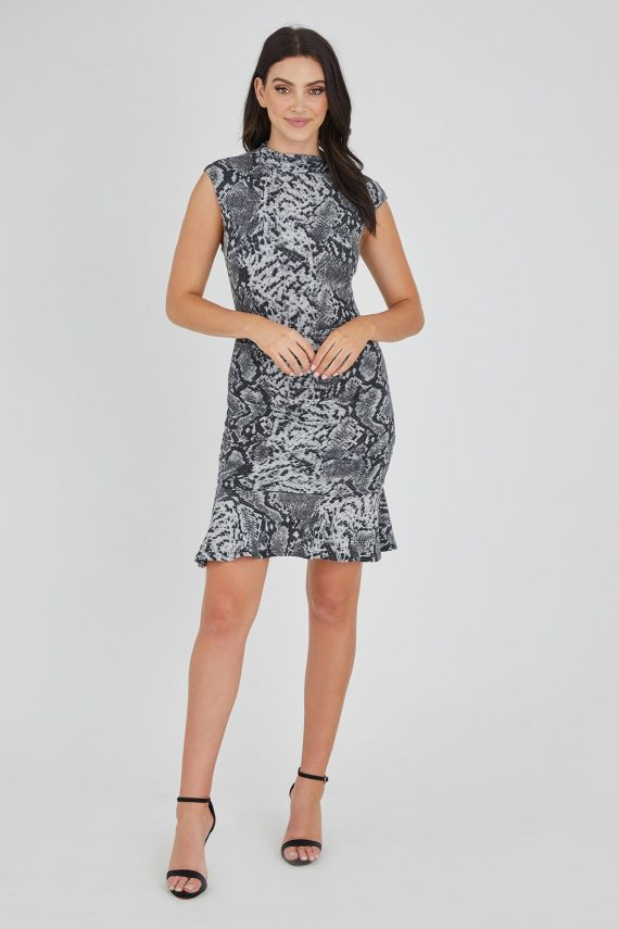 Vault Dress Ladies Dress Colour is Grey Snake Print