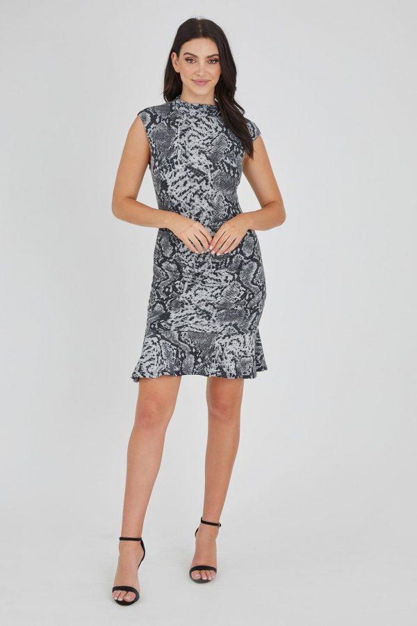 Vault Dress Ladies Dress Colour is Grey Snake Print