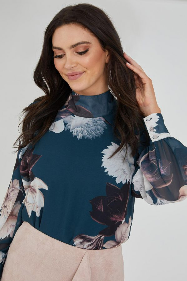 Dahlia Top Ladies Top Colour is Teal Peony Print