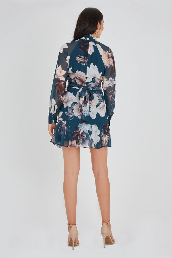 Dahlia Ruffle Dress Ladies Dress Colour is Teal Peony Print