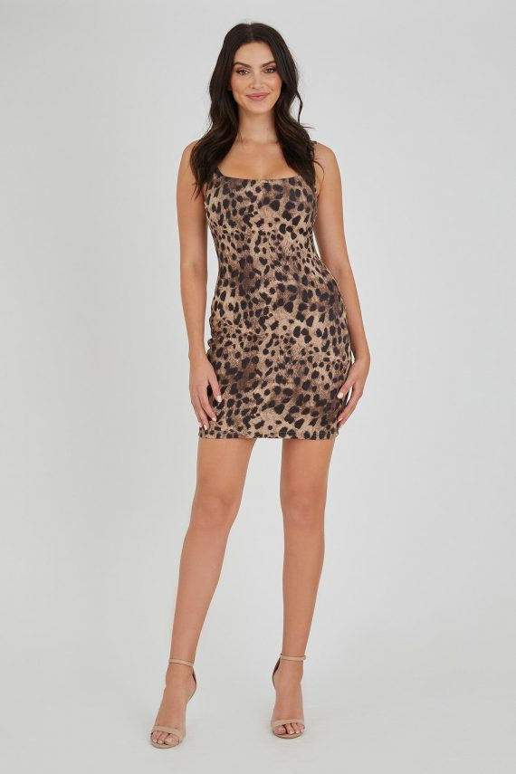 Shuffle Dress Ladies Dress Colour is Beige Leopard Print