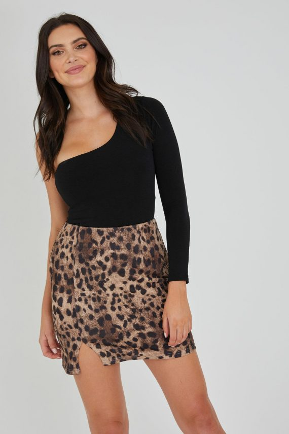 Shuffle Skirt Ladies Skirt Colour is Beige Leopard Print