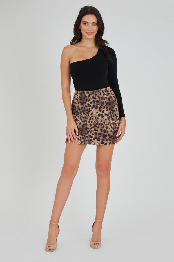 Shuffle Skirt Ladies Skirt Colour is Beige Leopard Print