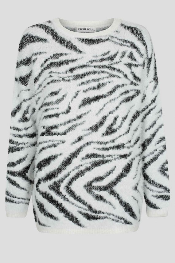 Sylvia Knit Top Ladies Top Colour is White Animal Print