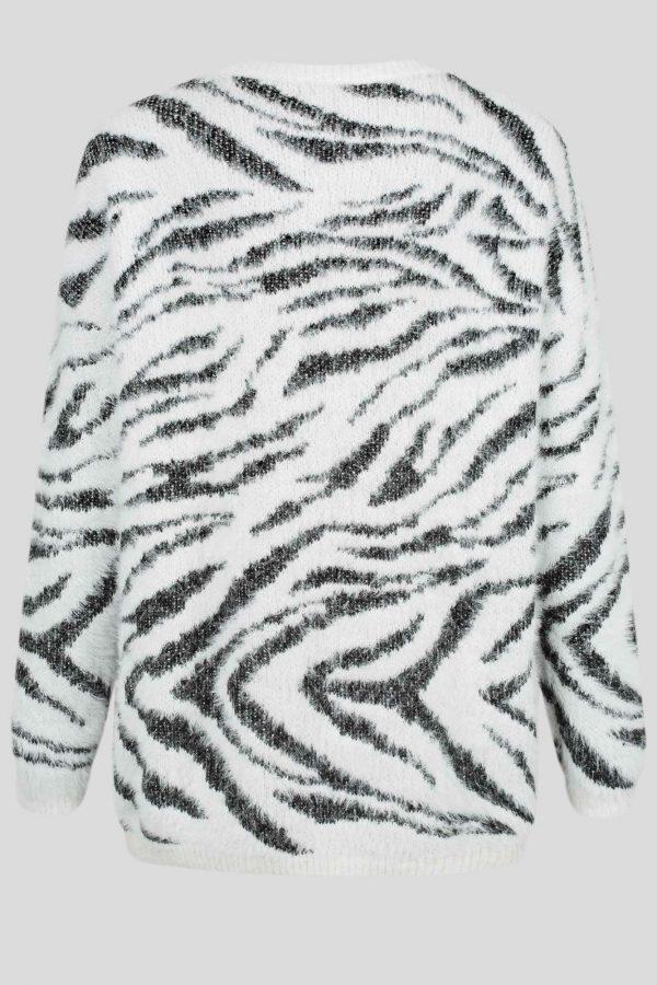 Sylvia Knit Top Ladies Top Colour is White Animal Print