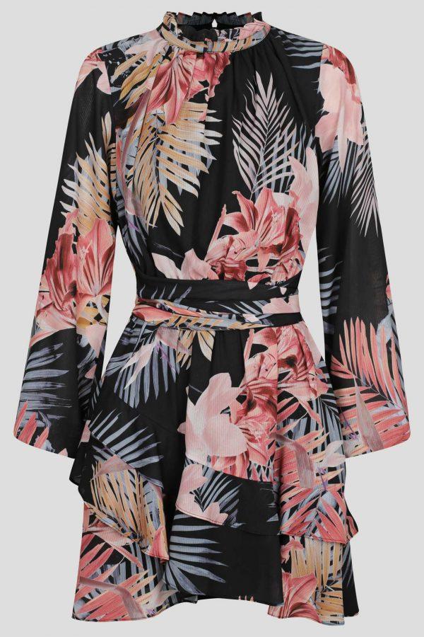 Dusk Ruffle Dress Ladies Dress Colour is Tropical Dusk Print