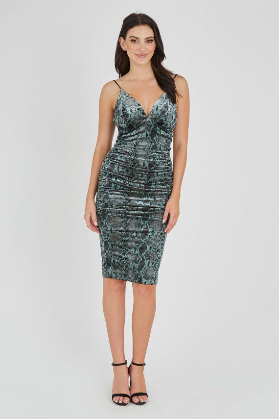 Green Snake Print Ladies Dress Colour is Green Snake Print