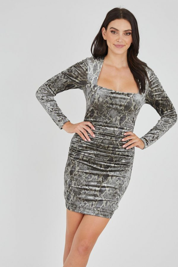 Secret Agent Dress Ladies Dress Colour is Gold Snake Print
