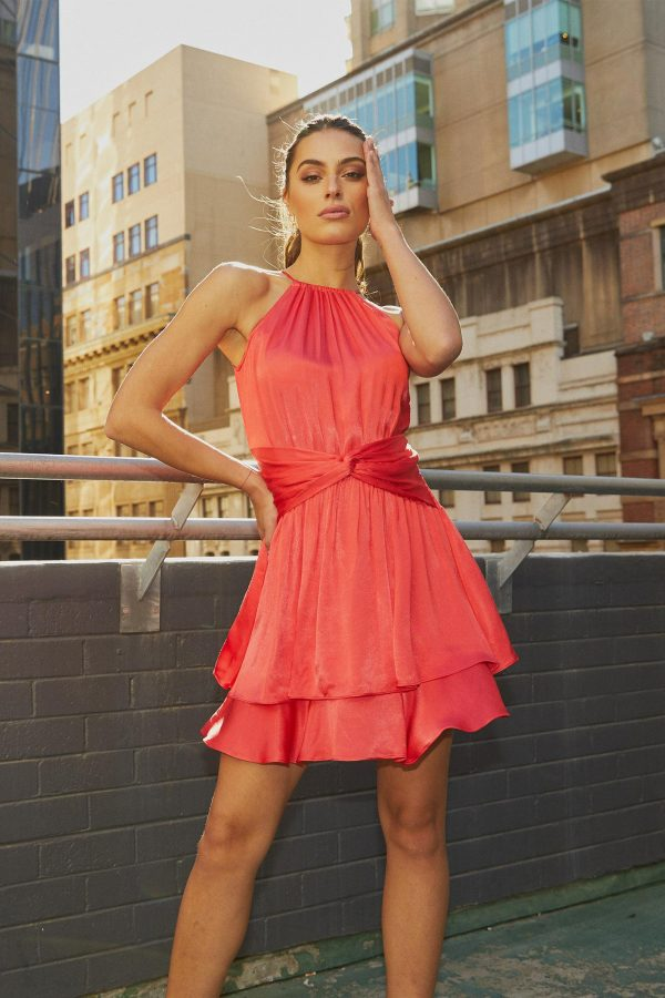 Esmerelda Dress Ladies Dress Colour is Melon